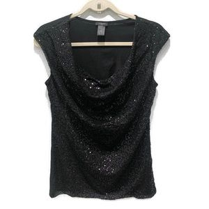 Ann Taylor Women's Sleeveless Sequin Cowl Neck Top